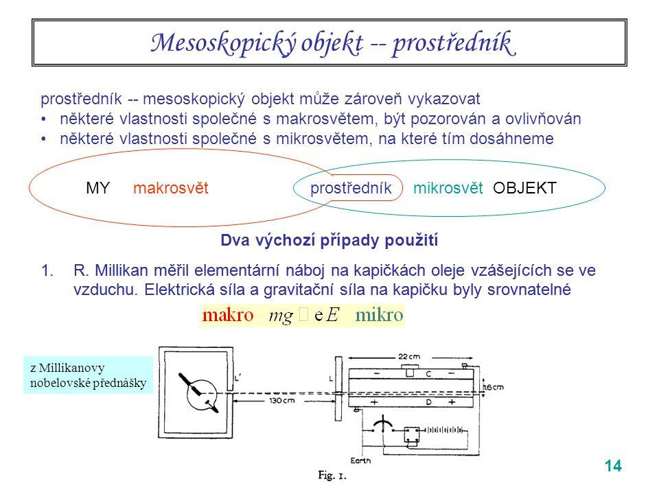 14 1.R.Millikan měřil elementární náboj na kapičkách oleje vzášejících se ve vzduchu.