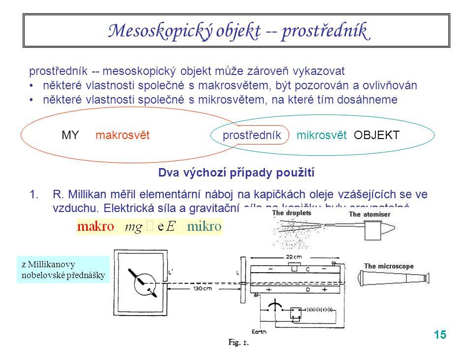 15 1.R.Millikan měřil elementární náboj na kapičkách oleje vzášejících se ve vzduchu.