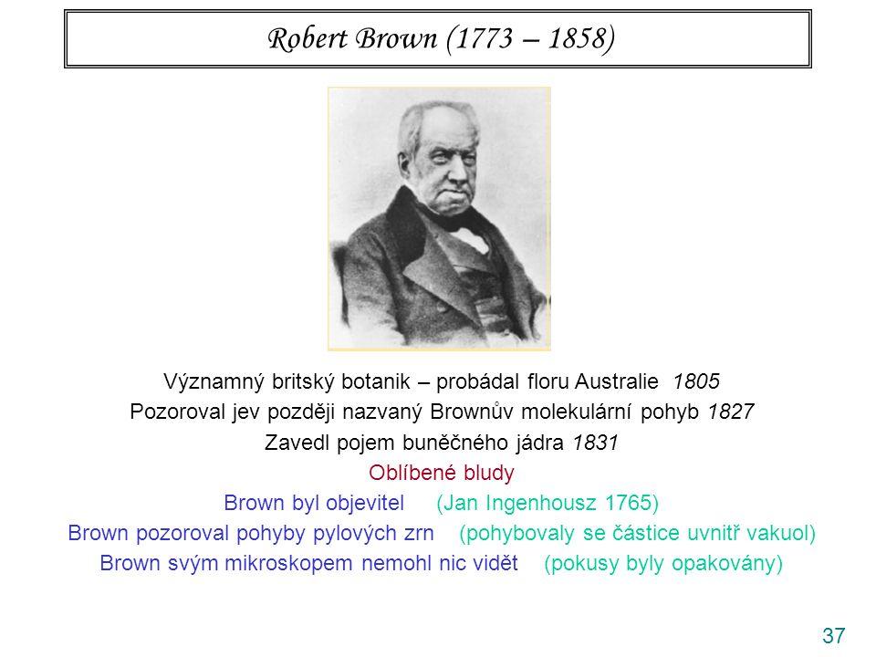 37 Robert Brown (1773 – 1858) Významný britský botanik – probádal floru Australie 1805 Pozoroval jev později nazvaný Brownův molekulární pohyb 1827 Zavedl pojem buněčného jádra 1831 Oblíbené bludy Brown byl objevitel (Jan Ingenhousz 1765) Brown pozoroval pohyby pylových zrn (pohybovaly se částice uvnitř vakuol) Brown svým mikroskopem nemohl nic vidět (pokusy byly opakovány)