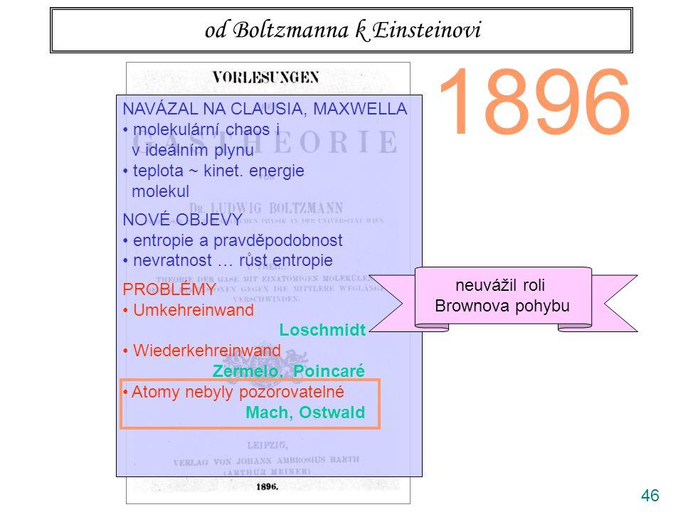 46 od Boltzmanna k Einsteinovi 1896 NAVÁZAL NA CLAUSIA, MAXWELLA molekulární chaos i v ideálním plynu teplota ~ kinet.