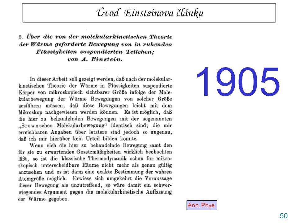 50 Úvod Einsteinova článku Ann. Phys. 1905