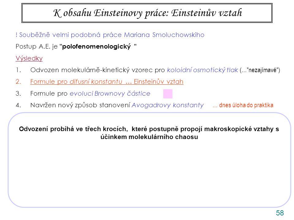 58 K obsahu Einsteinovy práce: Einsteinův vztah Odvození probíhá ve třech krocích, které postupně propojí makroskopické vztahy s účinkem molekulárního chaosu .