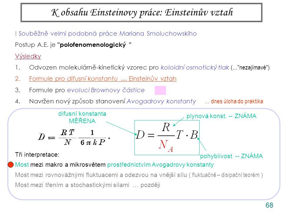 68 K obsahu Einsteinovy práce: Einsteinův vztah difusní konstanta MĚŘENA pohyblivost -- ZNÁMA plynová konst.