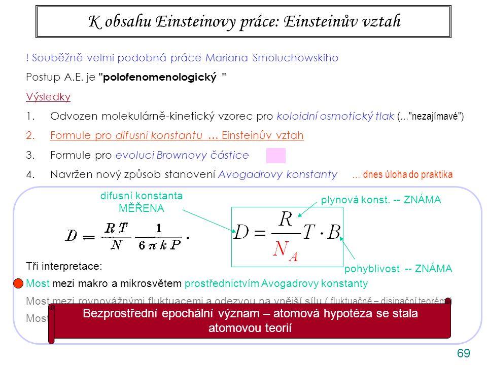 69 K obsahu Einsteinovy práce: Einsteinův vztah difusní konstanta MĚŘENA pohyblivost -- ZNÁMA plynová konst.