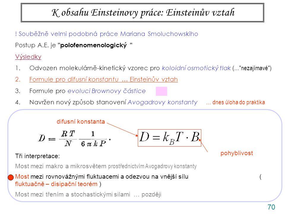 70 K obsahu Einsteinovy práce: Einsteinův vztah difusní konstanta pohyblivost .