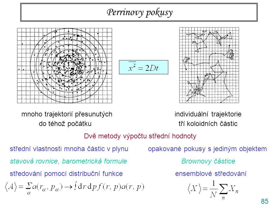 85 Perrinovy pokusy Dvě metody výpočtu střední hodnoty střední vlastnosti mnoha částic v plynu opakované pokusy s jediným objektem stavová rovnice, barometrická formule Brownovy částice středování pomocí distribuční funkce ensemblové středování mnoho trajektorií přesunutých individuální trajektorie do téhož počátku tří koloidních částic