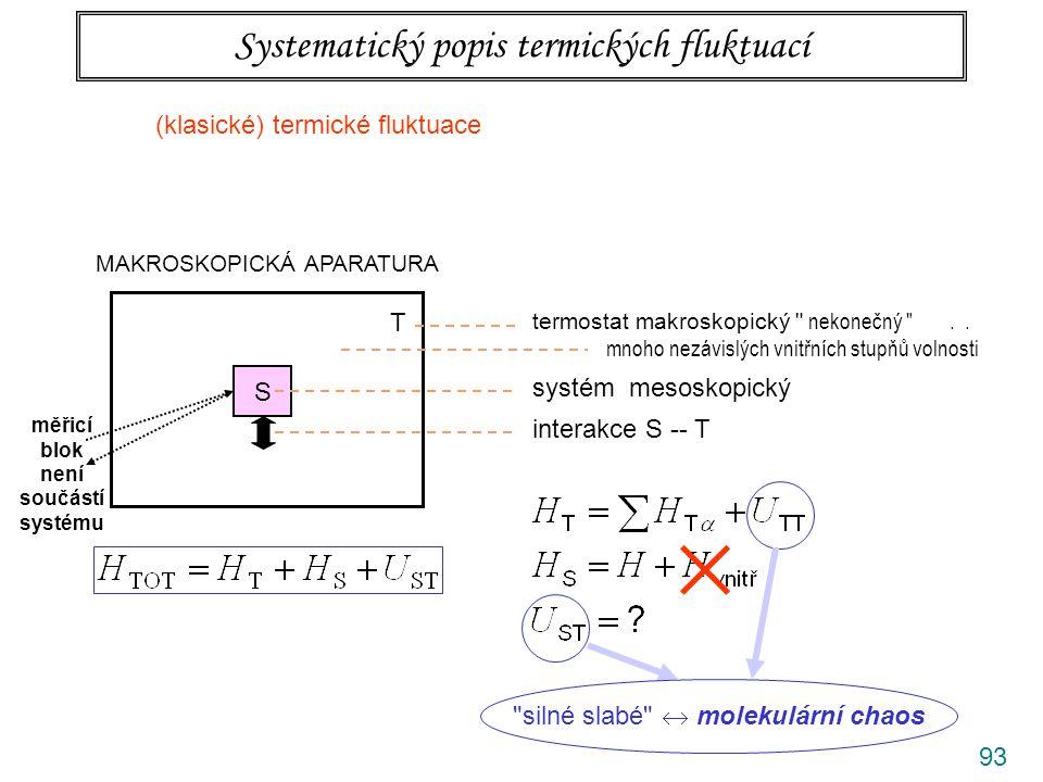 93 Systematický popis termických fluktuací MAKROSKOPICKÁ APARATURA S T termostat makroskopický nekonečný ..