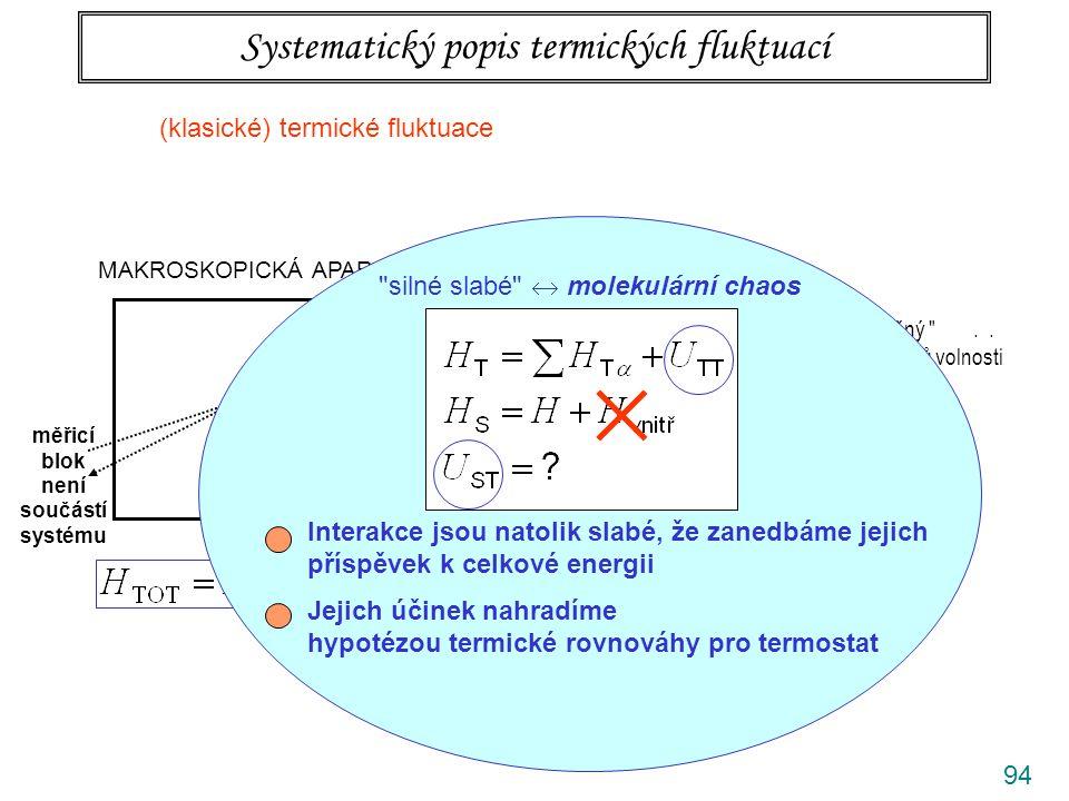 94 Systematický popis termických fluktuací MAKROSKOPICKÁ APARATURA S T termostat makroskopický nekonečný ..