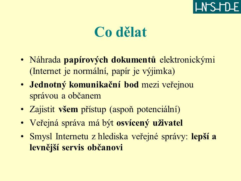 Co dělat Náhrada papírových dokumentů elektronickými (Internet je normální, papír je výjimka) Jednotný komunikační bod mezi veřejnou správou a občanem