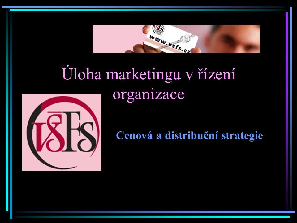 Úloha marketingu v řízení organizace Cenová a distribuční strategie