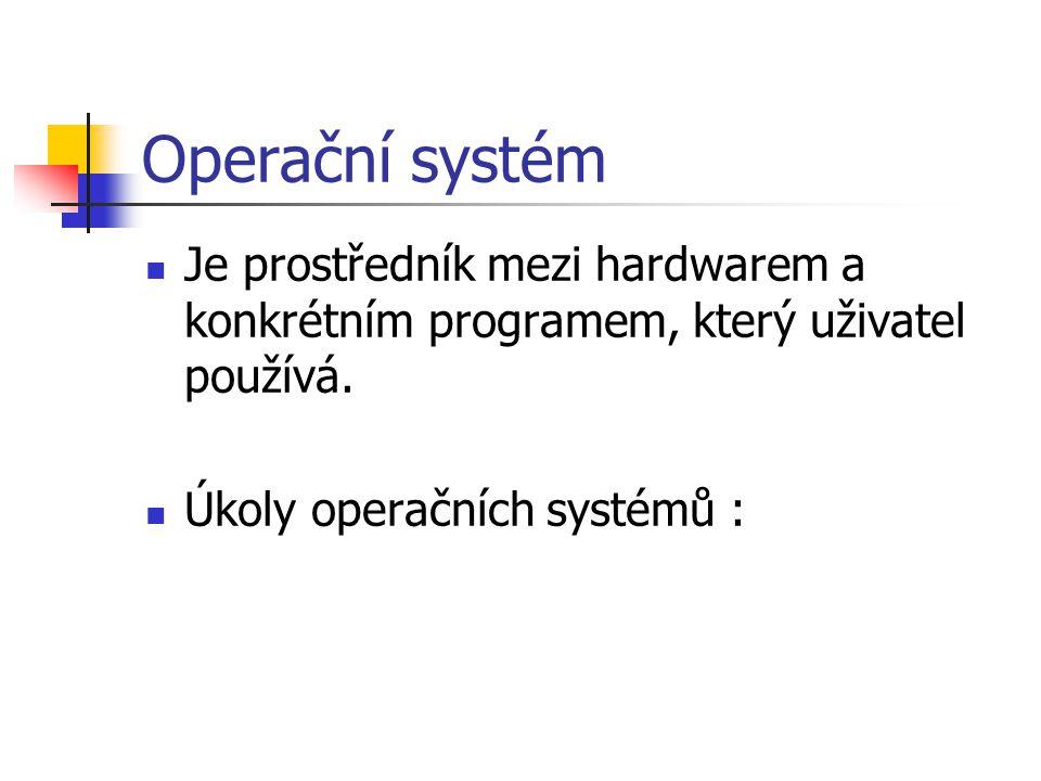 Operační systém Je prostředník mezi hardwarem a konkrétním programem, který uživatel používá.