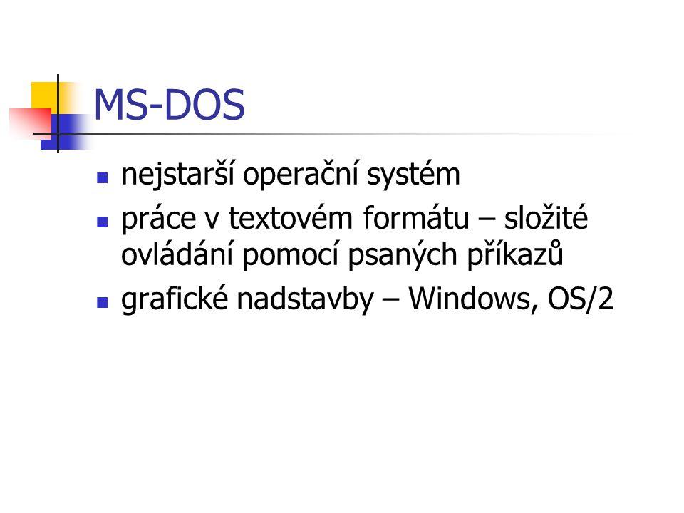 MS-DOS nejstarší operační systém práce v textovém formátu – složité ovládání pomocí psaných příkazů grafické nadstavby – Windows, OS/2