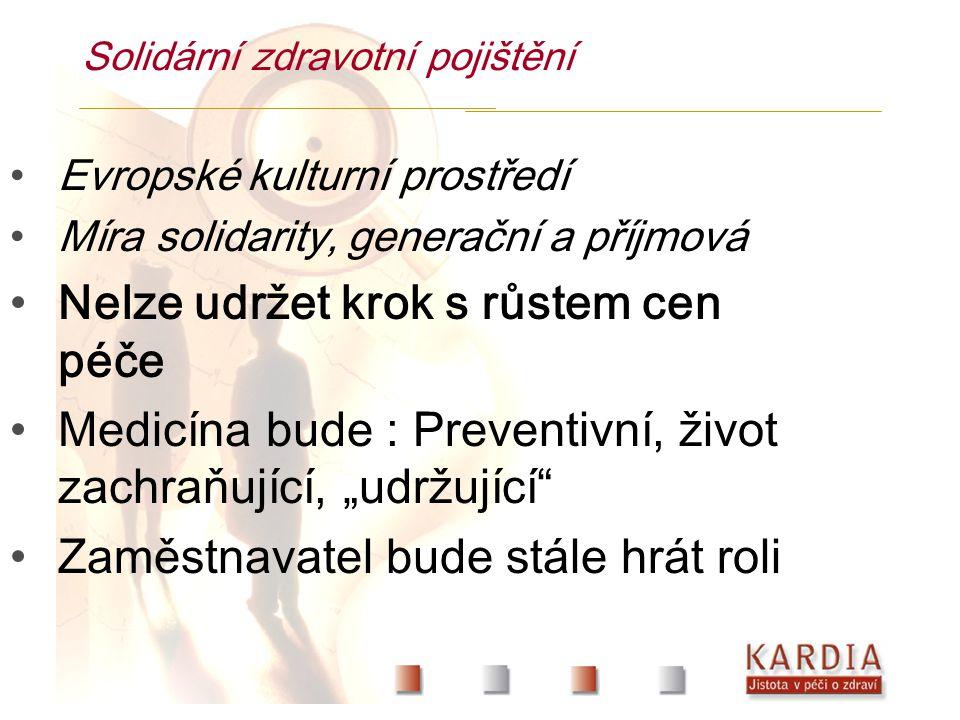 """Solidární zdravotní pojištění Evropské kulturní prostředí Míra solidarity, generační a příjmová Nelze udržet krok s růstem cen péče Medicína bude : Preventivní, život zachraňující, """"udržující Zaměstnavatel bude stále hrát roli"""