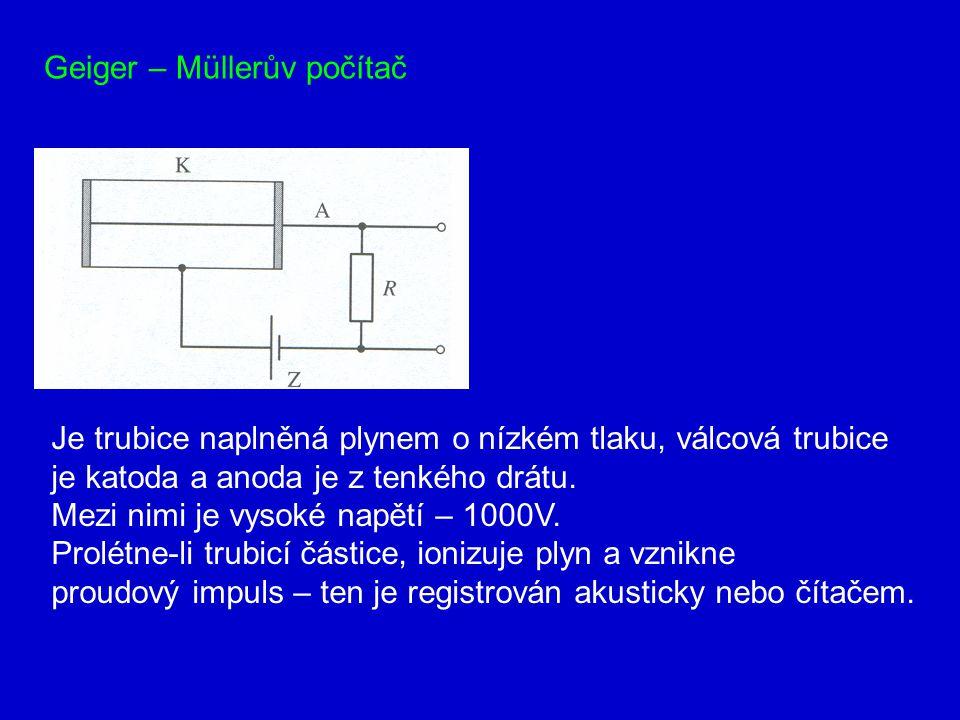 Geiger – Müllerův počítač Je trubice naplněná plynem o nízkém tlaku, válcová trubice je katoda a anoda je z tenkého drátu.