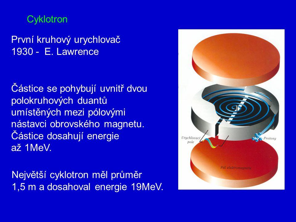 Cyklotron První kruhový urychlovač 1930 - E.