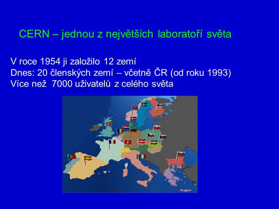 V roce 1954 ji založilo 12 zemí Dnes: 20 členských zemí – včetně ČR (od roku 1993) Více než 7000 uživatelů z celého světa CERN – jednou z největších laboratoří světa