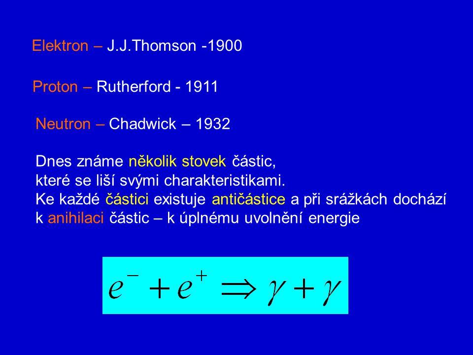 Elektron – J.J.Thomson -1900 Proton – Rutherford - 1911 Neutron – Chadwick – 1932 Dnes známe několik stovek částic, které se liší svými charakteristikami.