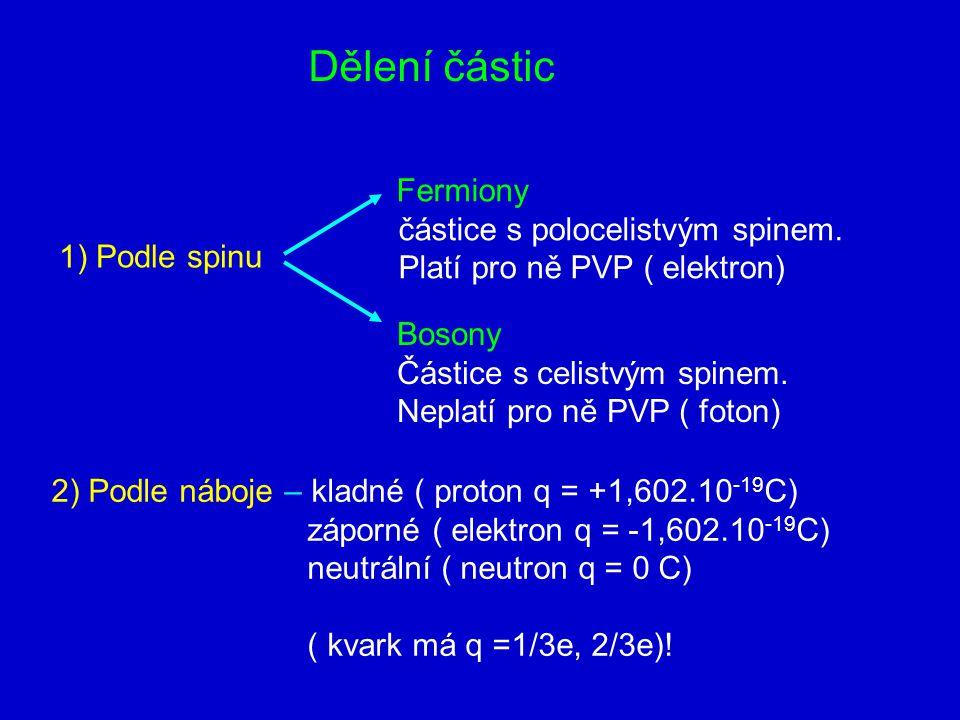 Dělení částic 1) Podle spinu Fermiony částice s polocelistvým spinem.