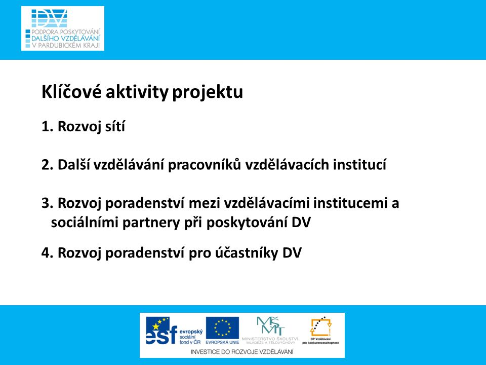 Klíčové aktivity projektu 1. Rozvoj sítí 2. Další vzdělávání pracovníků vzdělávacích institucí 3.