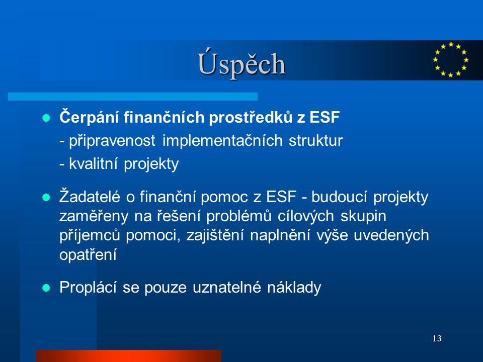 13 Úspěch Čerpání finančních prostředků z ESF - připravenost implementačních struktur - kvalitní projekty Žadatelé o finanční pomoc z ESF - budoucí projekty zaměřeny na řešení problémů cílových skupin příjemců pomoci, zajištění naplnění výše uvedených opatření Proplácí se pouze uznatelné náklady