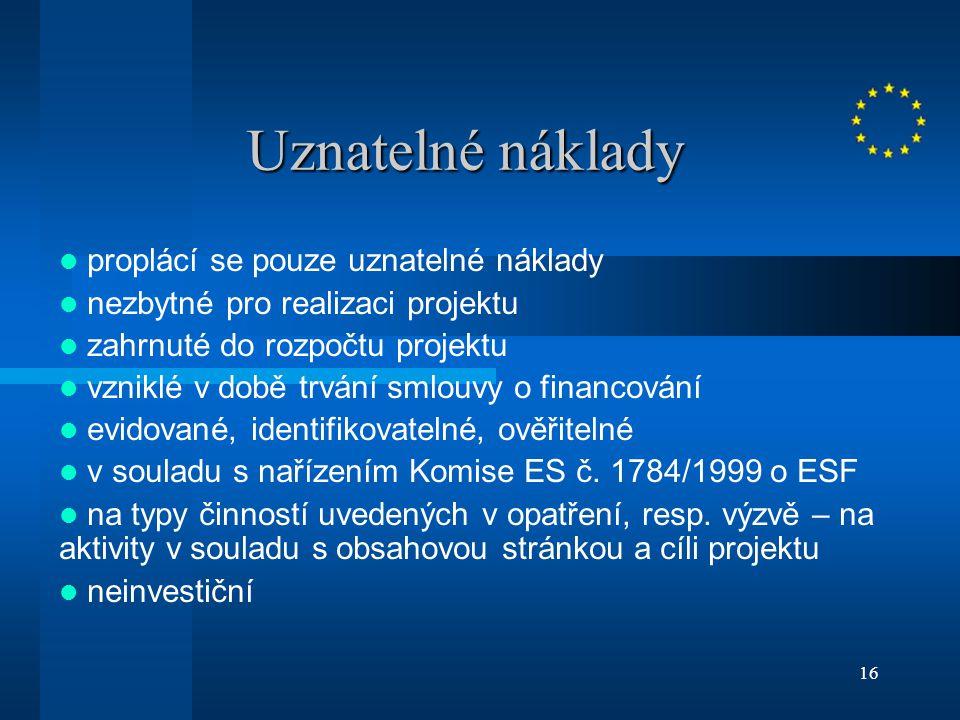 16 Uznatelné náklady proplácí se pouze uznatelné náklady nezbytné pro realizaci projektu zahrnuté do rozpočtu projektu vzniklé v době trvání smlouvy o financování evidované, identifikovatelné, ověřitelné v souladu s nařízením Komise ES č.