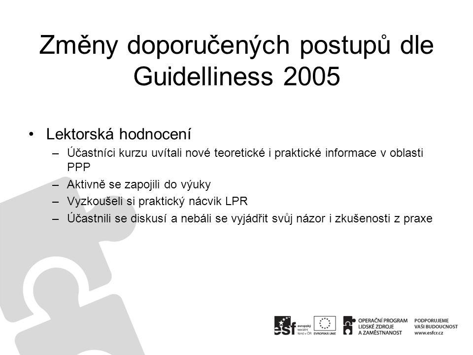 Změny doporučených postupů dle Guidelliness 2005 Lektorská hodnocení –Účastníci kurzu uvítali nové teoretické i praktické informace v oblasti PPP –Akt