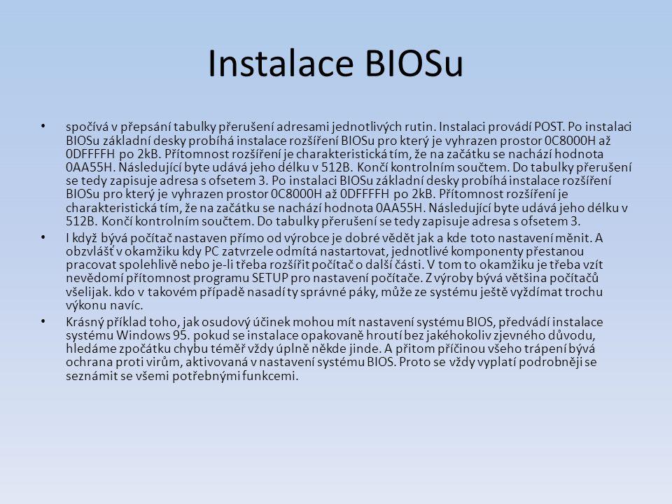 Instalace BIOSu spočívá v přepsání tabulky přerušení adresami jednotlivých rutin. Instalaci provádí POST. Po instalaci BIOSu základní desky probíhá in