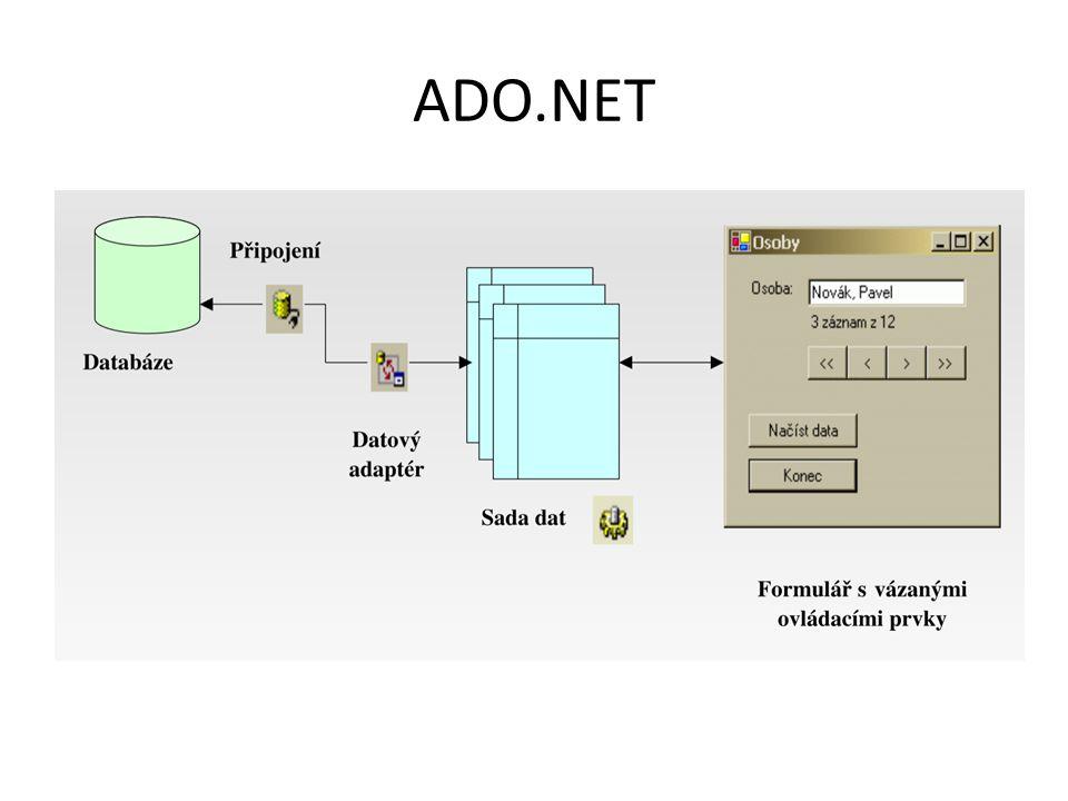 C o n n e c t i o n Připojení k datovému zdroji Různé druhy zdrojů – SqlConnection (MS SQL Server) – OLE DB Connection (MS Access (JET), MS – Excel, DBF,...) – ODBC Connection – Oracle Connection