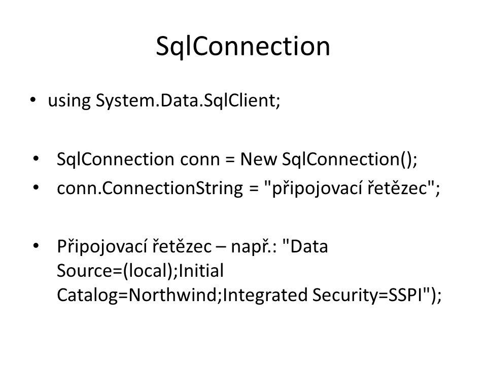 OLE DB - ConnectionString using System.Data.OleDb; connectionString = _ Provider=Microsoft.Jet.OLEDB.4.0; + _ Data Source=D:\Pokusna.mdb; ; Pripojeni = _ New OleDbConnection(connectionString);