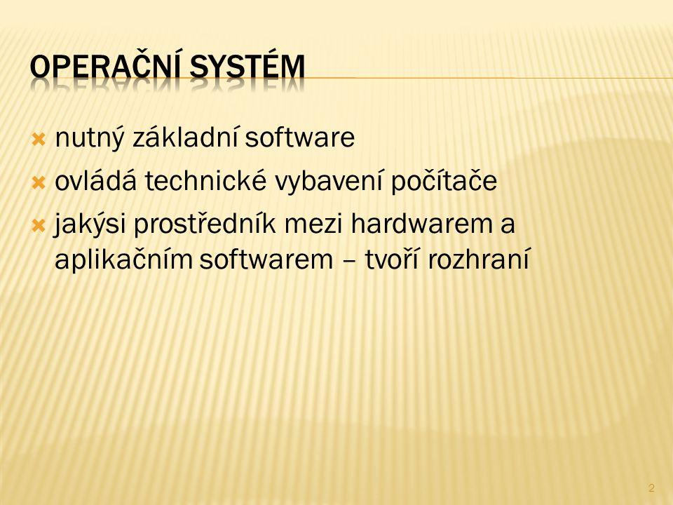  nutný základní software  ovládá technické vybavení počítače  jakýsi prostředník mezi hardwarem a aplikačním softwarem – tvoří rozhraní 2