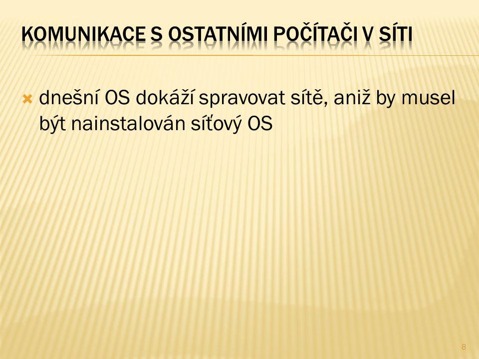  dnešní OS dokáží spravovat sítě, aniž by musel být nainstalován síťový OS 8
