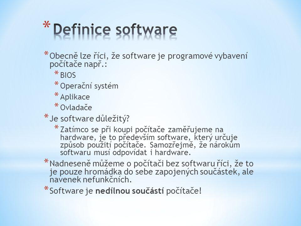 * Obecně lze říci, že software je programové vybavení počítače např.: * BIOS * Operační systém * Aplikace * Ovladače * Je software důležitý.