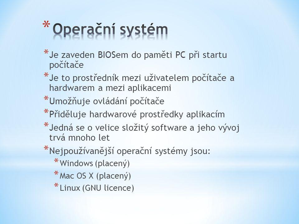 * Aplikace je program, který umožňuje uživateli provádět na počítači činnost, pro kterou je počítač určen.