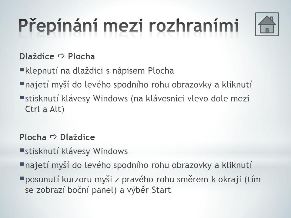 Dlaždice  Plocha  klepnutí na dlaždici s nápisem Plocha  najetí myší do levého spodního rohu obrazovky a kliknutí  stisknutí klávesy Windows (na klávesnici vlevo dole mezi Ctrl a Alt) Plocha  Dlaždice  stisknutí klávesy Windows  najetí myší do levého spodního rohu obrazovky a kliknutí  posunutí kurzoru myši z pravého rohu směrem k okraji (tím se zobrazí boční panel) a výběr Start