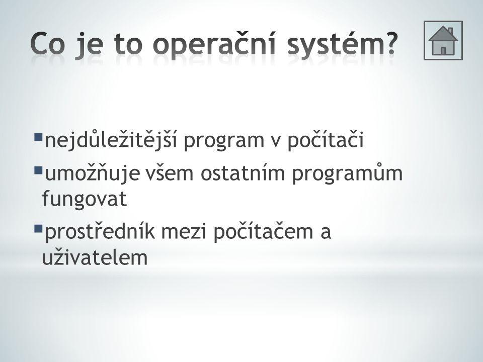  nejdůležitější program v počítači  umožňuje všem ostatním programům fungovat  prostředník mezi počítačem a uživatelem