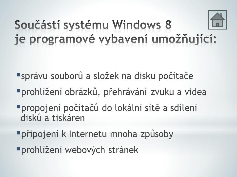   + D ‒ přepnutí z dlaždicového prostředí na plochu   ‒ přepíná kdykoliv mezi úvodní nabídkou a plochou  Alt + F4 ‒ ukončení programu   + Z ‒ vyvolání nabídky Všechny programy   + Q ‒ vyhledávání aplikací   + kurzorové šipky ‒ změna velikosti okna  Alt + Tab ‒ přepínání programů na ploše   + Tab ‒ přepínání programů v dlaždicovém rozhraní