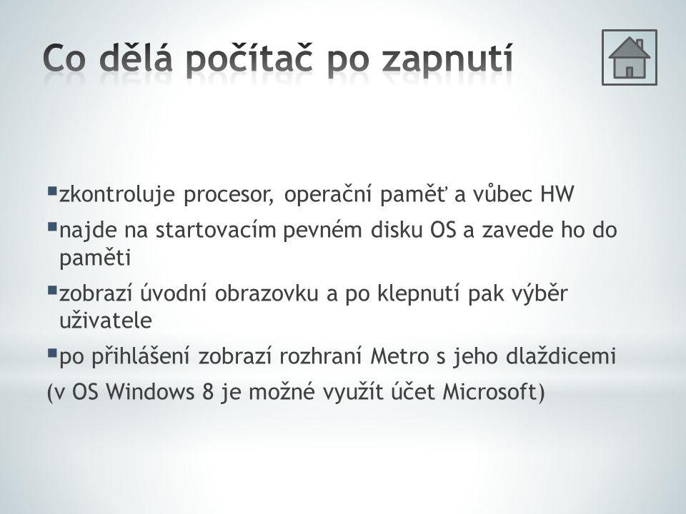  zkontroluje procesor, operační paměť a vůbec HW  najde na startovacím pevném disku OS a zavede ho do paměti  zobrazí úvodní obrazovku a po klepnutí pak výběr uživatele  po přihlášení zobrazí rozhraní Metro s jeho dlaždicemi (v OS Windows 8 je možné využít účet Microsoft)
