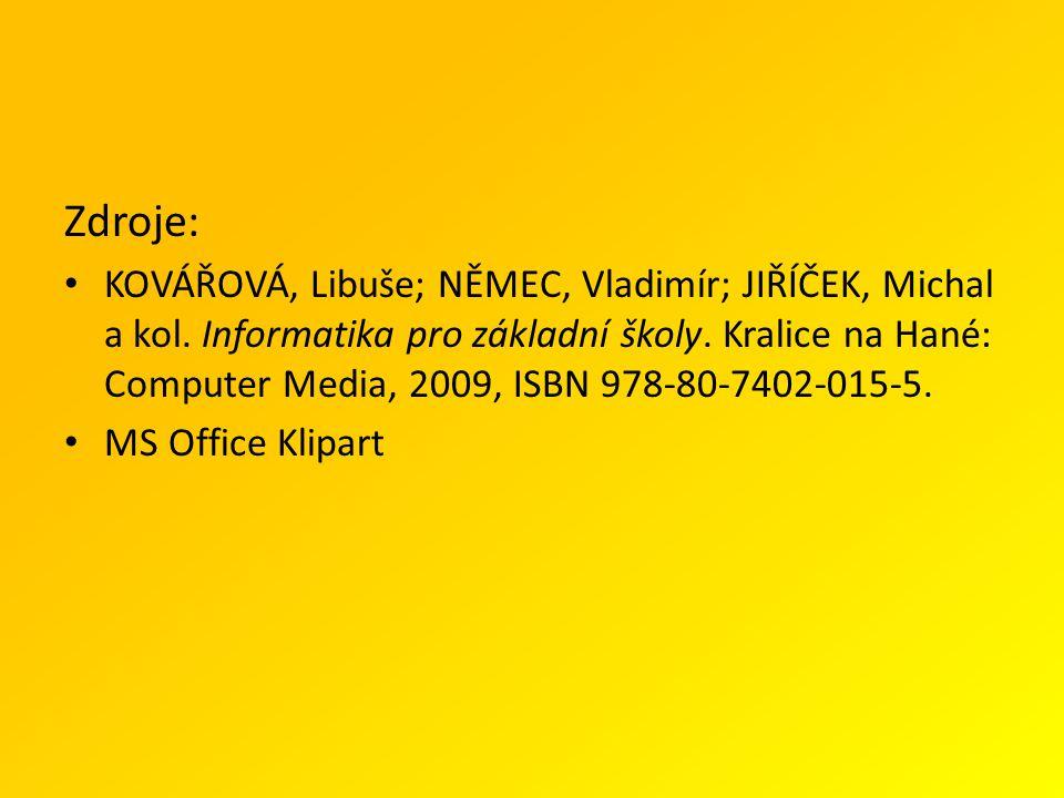 Zdroje: KOVÁŘOVÁ, Libuše; NĚMEC, Vladimír; JIŘÍČEK, Michal a kol.