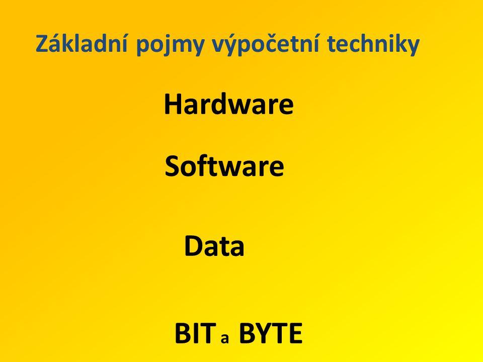 Základní pojmy výpočetní techniky Hardware Software Data BIT a BYTE