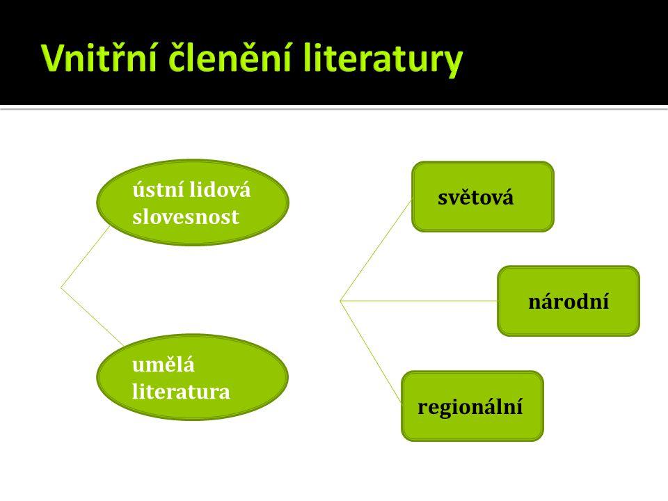 ústní lidová slovesnost umělá literatura světová národní regionální