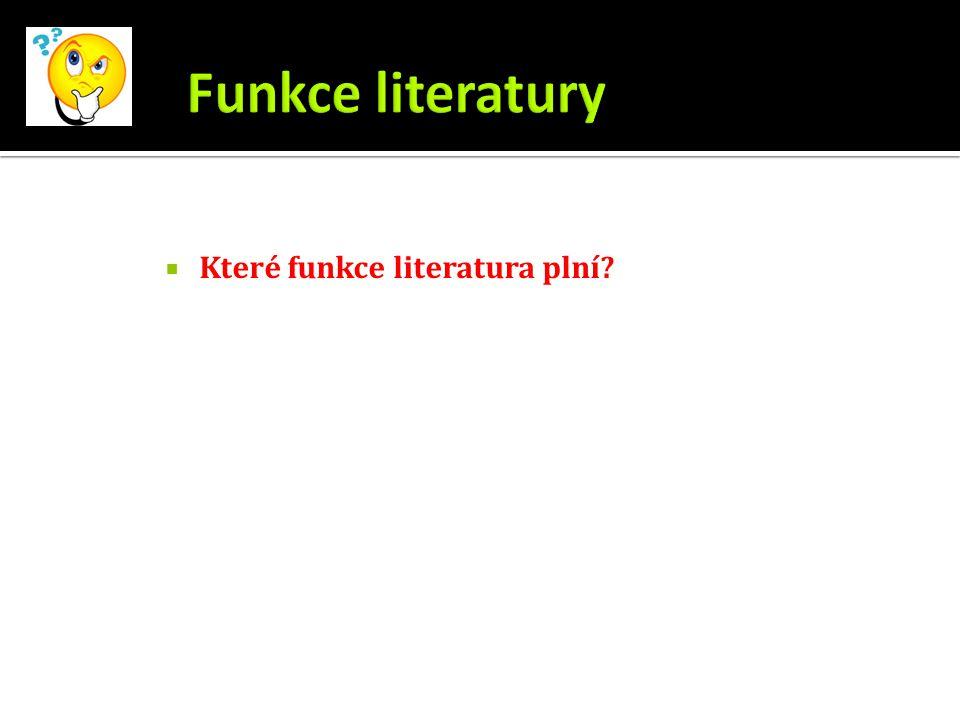 Které funkce literatura plní