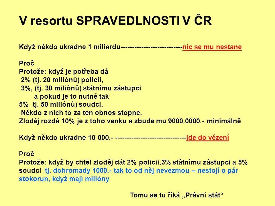 V resortu SPRAVEDLNOSTI V ČR Když někdo ukradne 1 miliardu---------------------------nic se mu nestane Proč Protože: když je potřeba dá 2% (tj.
