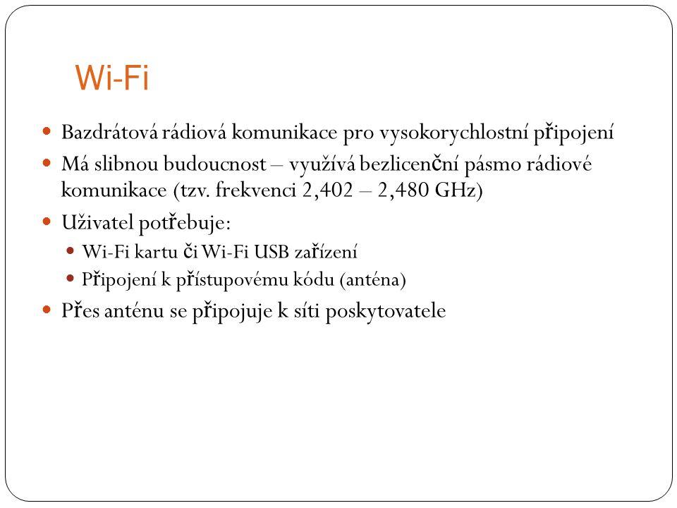 Wi-Fi Bazdrátová rádiová komunikace pro vysokorychlostní p ř ipojení Má slibnou budoucnost – využívá bezlicen č ní pásmo rádiové komunikace (tzv. frek