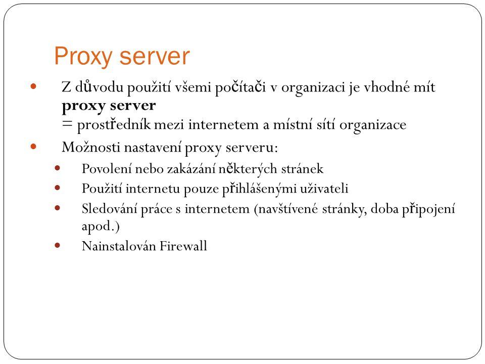 Proxy server Z d ů vodu použití všemi po č íta č i v organizaci je vhodné mít proxy server = prost ř edník mezi internetem a místní sítí organizace Mo