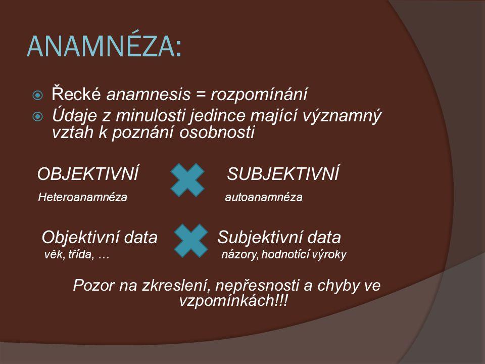 OSOBNÍ ANAMNÉZA: Vývoj dítěte - těhotenství, porod - Motorika - Řeč - Zdravotní stav - Zájmy