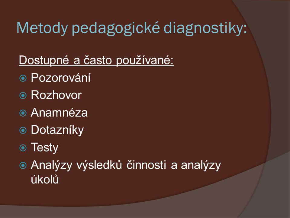 Metody pedagogické diagnostiky: Se speciální přípravou, zácvikem, vybavením:  Sociometrie  Projektivní techniky  Asociační techniky  Standardizované testy