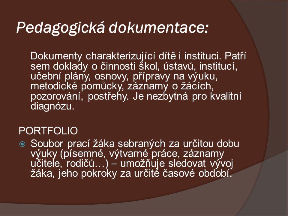 Pedagogická dokumentace: Dokumenty charakterizující dítě i instituci. Patří sem doklady o činnosti škol, ústavů, institucí, učební plány, osnovy, příp