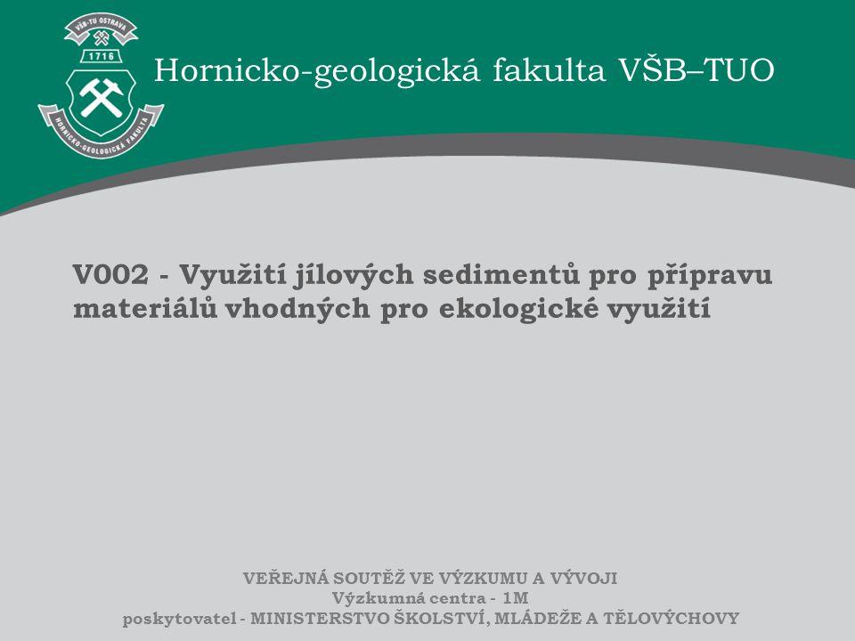 Hornicko-geologická fakulta VŠB–TUO VEŘEJNÁ SOUTĚŽ VE VÝZKUMU A VÝVOJI Výzkumná centra - 1M poskytovatel - MINISTERSTVO ŠKOLSTVÍ, MLÁDEŽE A TĚLOVÝCHOV