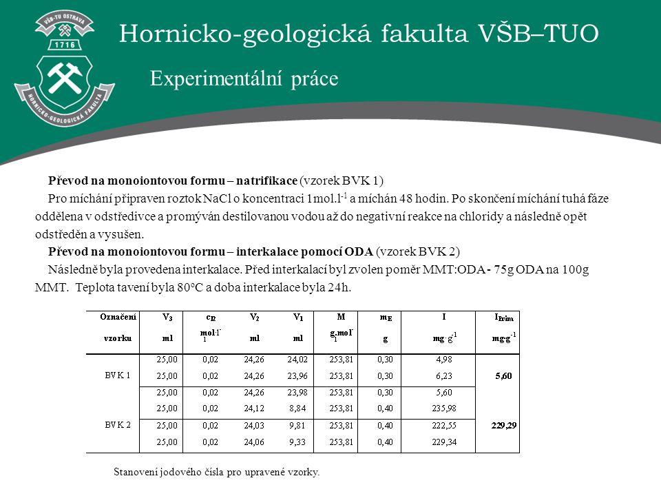 Hornicko-geologická fakulta VŠB–TUO Převod na monoiontovou formu – natrifikace (vzorek BVK 1) Pro míchání připraven roztok NaCl o koncentraci 1mol.l -