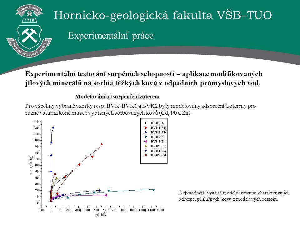 Hornicko-geologická fakulta VŠB–TUO Experimentální testování sorpčních schopností – aplikace modifikovaných jílových minerálů na sorbci těžkých kovů z